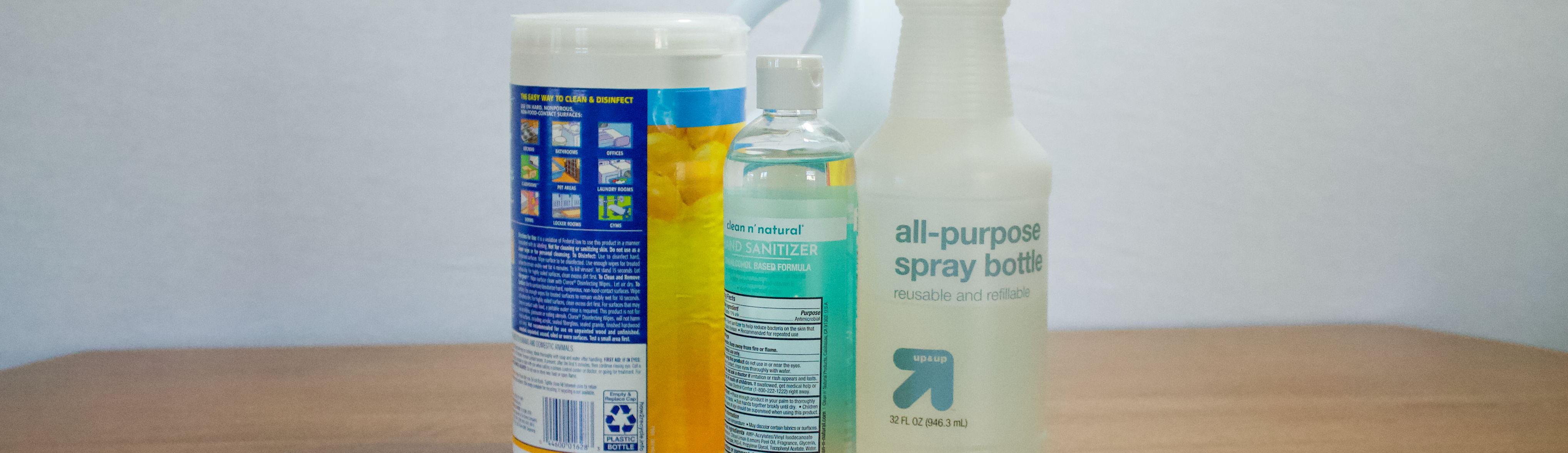 Three sanitization bottles for cleaning.