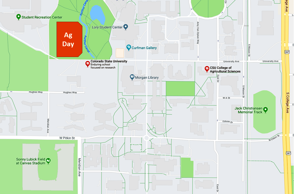 Ag Day is located on IM Fields 12 and 13, due north of Canvas Stadium