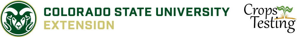 Colorado State University Extension logo on left side with Crops Testing Logo on right side