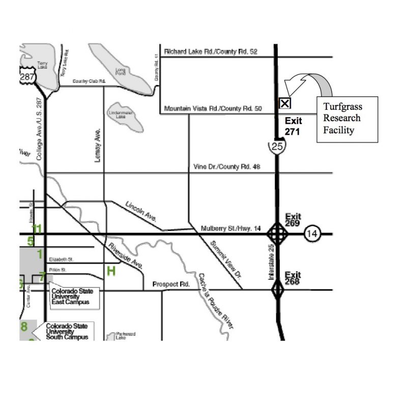 Directions to CSU Turfgrass Research Center with Ft. Collins CC on map