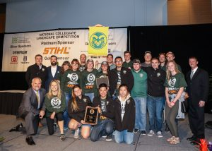 Group of Landscape Design and Contracting students with awards from 2017 National Collegiate Landscape Competition