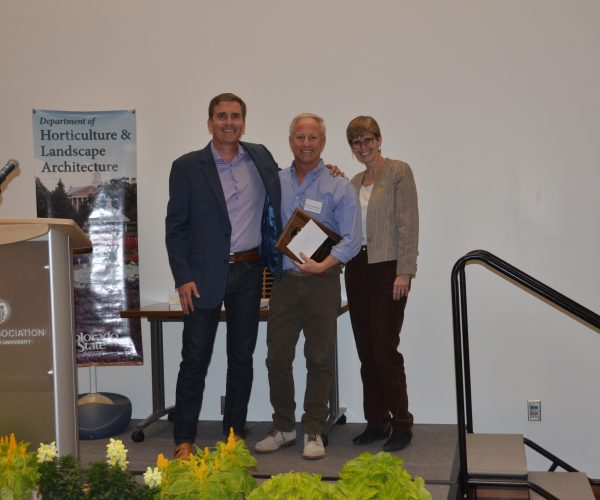 Our 2018 Environmental (Landscape) Horticulture Distinguished Alum Phil Steinhauer, Designscapes (Center) with Zach Johnson, Professor (Left) and Jessica Davis, Department Head (Right)