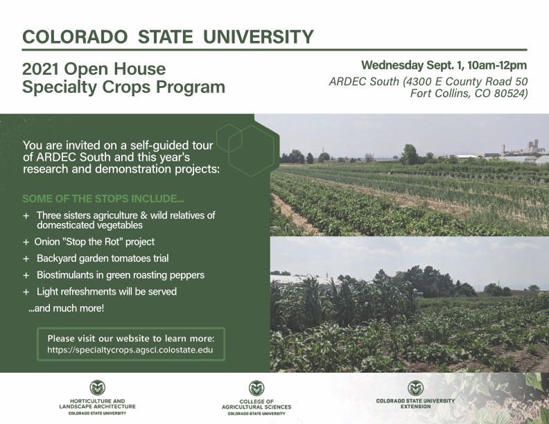 CSU ARDEC South and Specialty Crops open house 2021 poster V3