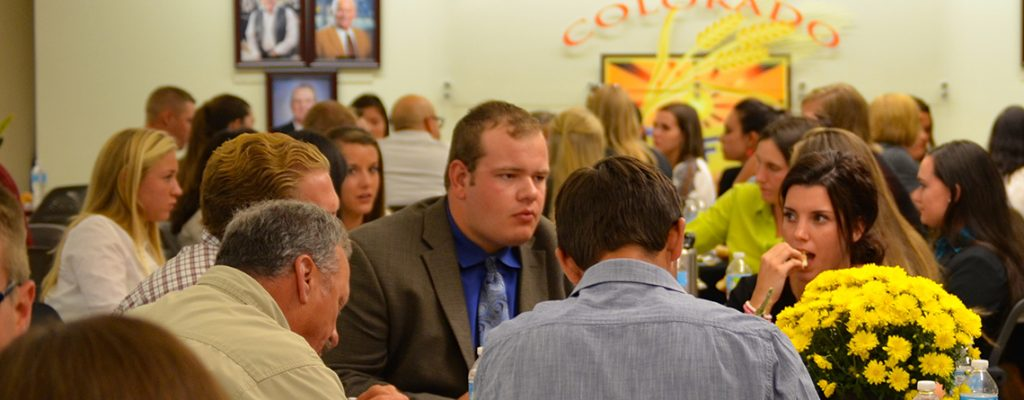 students and employers talk at the cobank center