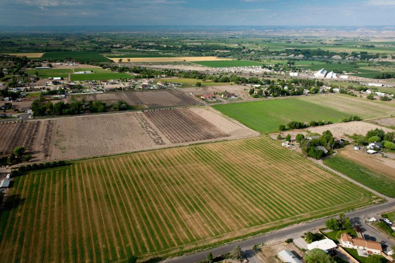 Aerial view of farms in Delta, Colorado