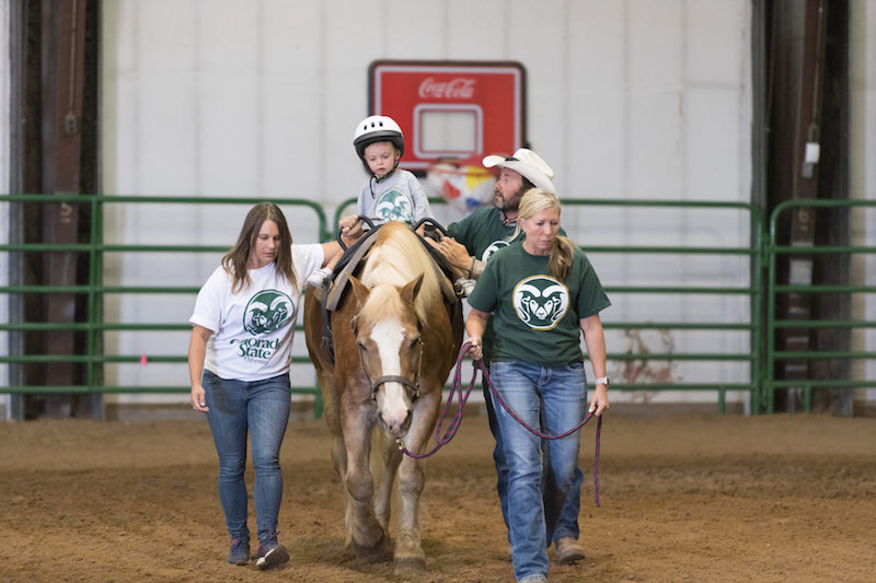 Occupation therapist Jeff Galloway, third from left, and assistants Kristy Guzman and Stacy Mowbray perform an equine assisted occupational therapy session with Maxwell Freed at the Temple Grandin Equine Center in Denver, August 19, 2019.